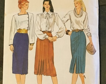 1980s Vogue Sewing Pattern 7568 Misses Mid Calf Pencil Skirt Pleated Front Size 12 uncut-Vogue Pattern, pencil skirt pattern, pleated skirt
