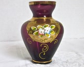 Murano Glass Vase Purple Amethyst Gold Trim Venetian Art Glass Enamel Flowers 1970s