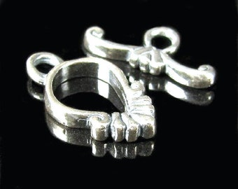 Sweet Elegance - Small to Medium Fancy Sterling Silver Toggle Set 13.4mm T48