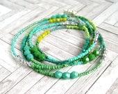 mermaid 's dream long beaded necklace blue green silver, bohemian, boho, wrap bracelet