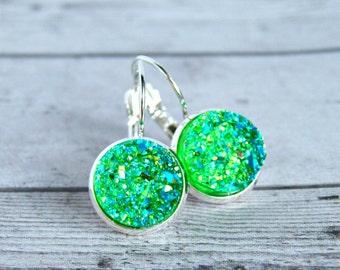 green jellies silver tone lever back cabochon earrings, neon, druzy, drusy, faux druzy,