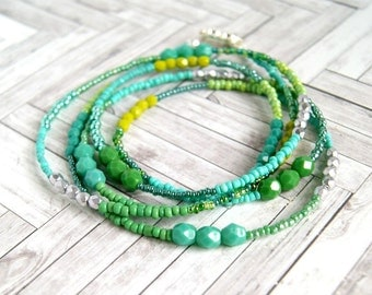 long beaded necklace, long green necklace, mermaid, wrap bracelet, gift for her, christmas gift