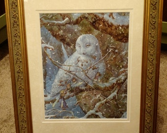 Winter Refuge Owl and Fairies Signed Print in an 11x14 Decorative Gold Frame