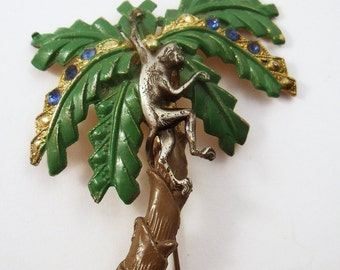 Vintage Monkey in a tree brooch enamel rhinestones