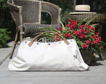 Sand and Sea WEEKENDER 4 - - Summer OWERNIGHT BAG from canvas and leather