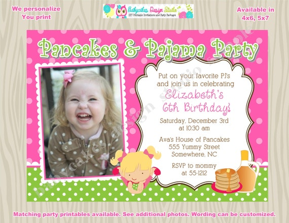 Pancakes and Pajama Party Invitation invite Pancake pajama party birthday invitation invite Pj party photo picture CHOOSE your GIRL