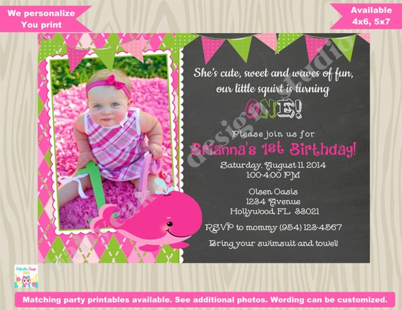 Whale birthday invitation invite photo picture whale birthday party invite Girl preppy whale invitation chalkboard pink green DIY printable