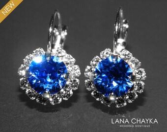 Sapphire Halo Crystal Earrings Swarovski Rhinestone Earrings Leverback Earrings Royal Blue Cobalt Bridesmaid Jewelry Birthstone September