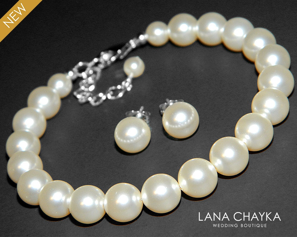 Pearl Bridal Jewelry Set Ivory Pearl BraceletampEarrings Set