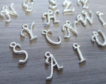 Alphabet Charms Pendants Shiny Silver Letter Charms Initial Charms Assorted Set Fancy Font 12-17mm 10 pieces
