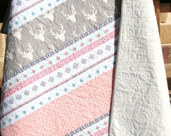 Baby Quilt, Girl, Coral Mint Green Aqua Grey Gray, Aztec Deer Head Buck Stag Art Gallery, Crib Bedding, Nursery Baby Blanket, Ready to Ship