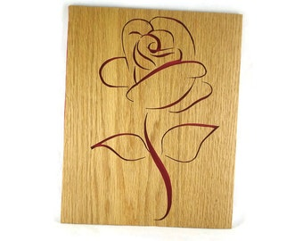 Red Rose Wall Art Decor Handmade 8 x 10 Oak Wood Flower