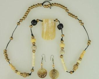 Vintage Dayton's Box Necklace Earring Set Brown Gold Black Neutral Cord Pierced