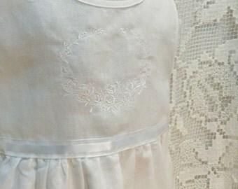 White Linen Tea Length Dress