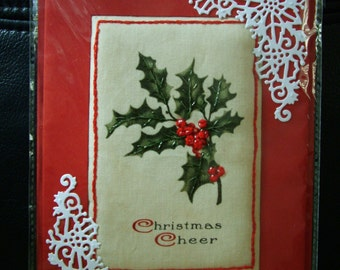 Christmas card. Embroidery embellished Holly design padded blank card.
