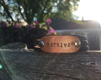 Personalized hand stamped leather cuff