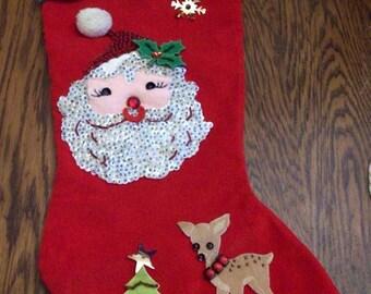 "Vintage 1960's Christmas Stocking ""Danny"" Santa Claus Reindeer Christmas Tree Holiday Decor"