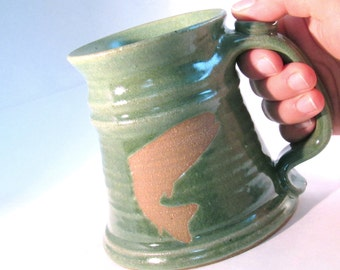 Trout Stein - Coffee Mug - Tankard - 24 oz. - Fish Silhouette - Renaissance Stein - Bright Green - Handmade Pottery - Pottersong Pottery