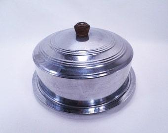 Covered Cake Plate Chrome Vintage 50s
