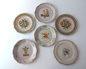 Antique French Plates Group of 6  from late 1800s to early 1900s Hand Painted