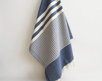 SALE 50 OFF / Turkish Beach Bath Towel / Classic Peshtemal / Denim Blue / Wedding Gift, Spa, Swim, Pool Towels and Pareo
