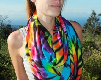 Circular Tie Dye Infinity Scarf/Wrap with black accents
