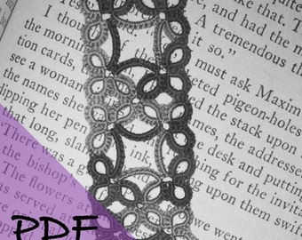 PDF tatting pattern for Frames bookmark