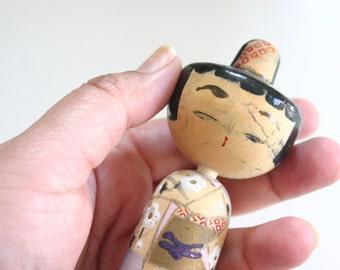 "Kokeshi lady chan - Vintage Japanese Wooden Doll Sousaku Kokeshi Nodder Doll wearing a kimono (5.75"" x  1.5"" at widest points)"
