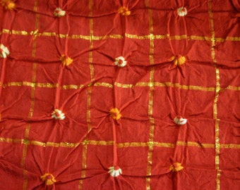 Orange and Gold - Bandhani (Indian Tie-Dyed) cotton Fabric  (1 yard)