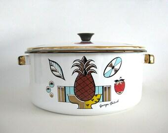 Vintage Enamel Stock Pot Georges Briard Ambrosia Metallic Enamelware Soup Stew Cooking Pot Mid Century Pineapple Housewarming Gift