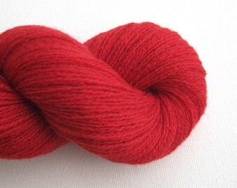 Lace Weight Recycled Cashmere Yarn, Classic Red, Lot 140216