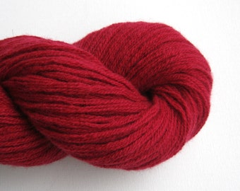 Aran or Bulky Weight Merino Cashmere Blend Recycled Yarn, Dark Red, Lot 150516