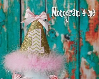Princess 1st Birthday Hat - Birthday Cap - Light Pink and Gold - First Birthday - Party Hat