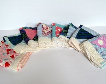 Vintage Quilt Squares 1930s/40s Hand Stitched (Lot of 8)