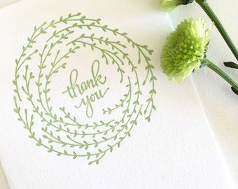Wedding Thank You Cards, Letterpress Thank You Cards, Thank You Card Sets, Wreath Thank You Cards, Calligraphy Cards, Letterpress Cards