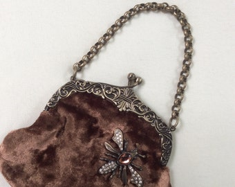 Guess chocolate velvet purse small