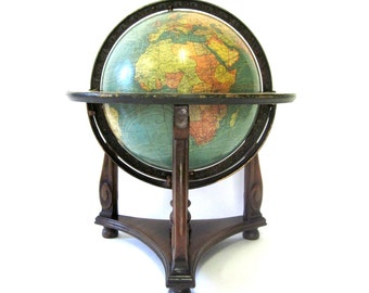 Vintage World Globe Handcrafted c1929 Terrestrial Sphere by W.&A.K. Johnston for Kittinger