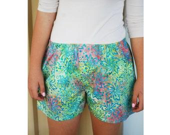 Womens Pajama Short, Gift Boxers, Cotton Pajama, Womens Gift, Colorful Boxer Short, Batik Cotton Boxers