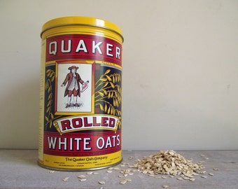 Quaker Oats Canister | Advertising Tin Storage Canister Printed in English and French | Vintage Kitchen Decor