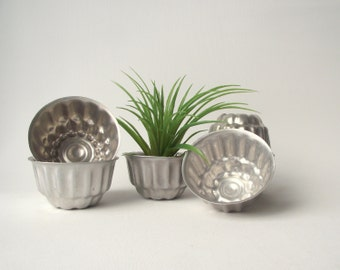 Mini Tart Tins or Jelly Molds | Instant Collection of 6 Vintage Aluminum Tins | Vintage Kitchen | Vintage Metal Supplies