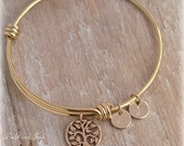 Gold Tree of Life Bracelet, Family Tree Bracelet, Tree of Life Bangle, Initial Bangle Bracelet, Choose Discs#/Font/Initial, Mothers Gift
