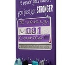 Gifts for runners - race bib holder & running medal holder - Running gift - It never gets easier, you just get stronger