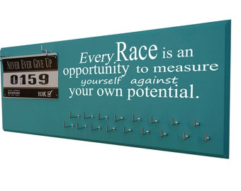 Gifts for runners | Running Medal Holder and Race Bib Hanger | Every race is an opportunity ...