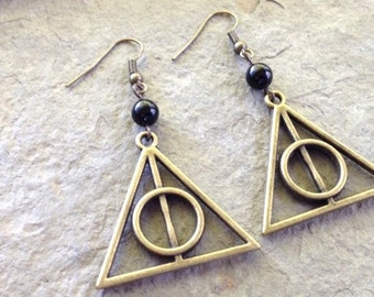 Harry Potter earrings // Deathly Hallows earrings // bronze tone large 30mm charm with black bead