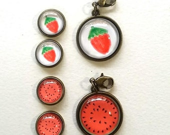 Cute Strawberry/ Watermelon Jewelry set , Earring Stud and 20mm Glass Cabochons Pendant EN157
