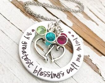 My greatest blessings call me mimi necklace hand stamped swarovski birthstone washer pendant cluster nana mommy mom auntie oma grandma gram