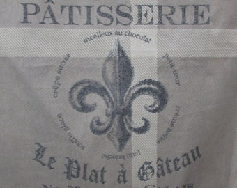 Patisserie pillow cover in gray French, Script, Fleur de lis,  20x20, 22x22. 24x24. 26x26 French Laundry