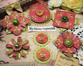 Hot Pink and Green Scrapbook Paper Embellishments, Scrapbook Embellishments, Mini Album Embellishments, Card Embellishments, Paper Flowers