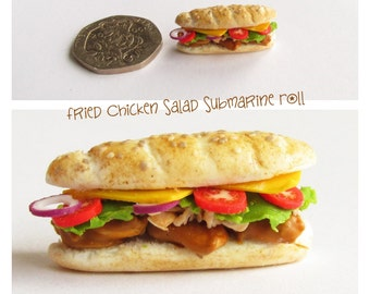 Fried Chicken Salad Submarine Roll