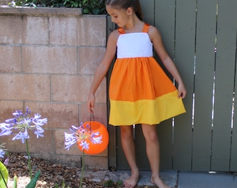 Halloween Fall Candy Corn Inspired Bow Back Boutique Dress Size 2T SAMPLE SALE